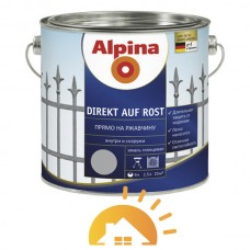 Alpina алкидная эмаль прямо на ржавчину для антикоррозионной защиты Direkt auf Rost, белый (RAL9016), 2,5 л